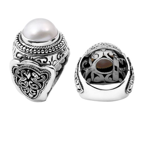 Sterling Silver Beautiful Designer Ring with Mabe Pearl AR-1032-PE-6