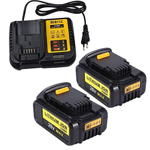 Batería de repuesto de iones de litio (2 unidades, 5,0 Ah, 20 V, con cargador, DCB112 3A, para Dewalt 18 V, DCB180, DCB181, DCB181-XJ, DCB200, DCB200-2, DCB201-2, DCB201-2, DCB201-2