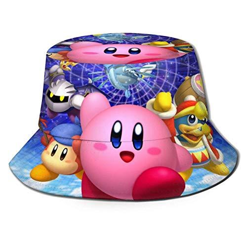 Star Card Kirby Sombrero de pescador de moda sombrero de sol para hombres y mujeres – Protección UV transpirable ala ancha Buet Cap para pesca al aire libre y senderismo Bla