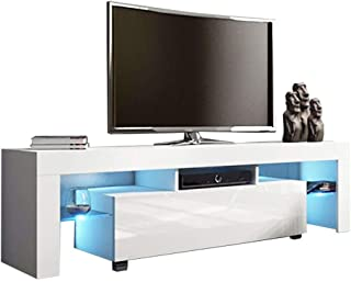 CYCTECH TV Stand with High Gloss LED Lights, Media Console Cabinet LED Shelves with 2 Drawers for Living Room Storage White for up to 65-inch TV Screens