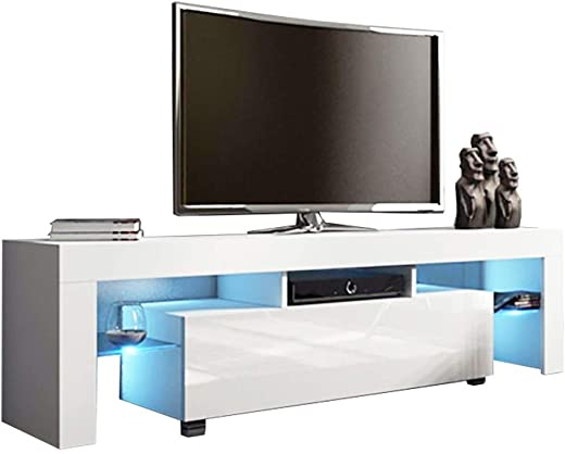 TV & Media Furniture ✅Beyonds Modern TV Stand, 51 Inch Modern White LED TV Stand with Storage and Drawers TV Cabinet, Home Living Room Furniture