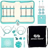 Knitter's Pride Knitting Needles Mindful Interchangeable Lace Set Believe, Extra Pointy Stainless Steel, Smooth Finish, All Skill Levels, 7 Pairs of 5 inch Tips Bundled with Artsiga Crafts Project Bag