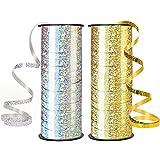 Alledomain 2 paquetes de cinta para globos de 91 m, cinta engarzada metálica para fiestas, festivales, floristería, manualidades y regalo (oro y plata)