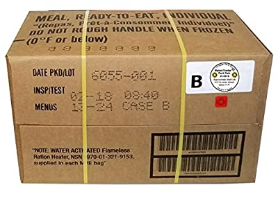 Western Frontier MRE B-Menu Case, 2018 Inspection Date Military Meal-Ready-to-Eat. Case of 12 Genuine US Military Surplus MREs with B-Case Menu Selections.