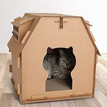 Sweet48 Maison de chat en carton ondulé avec tampon à gratter soi-même pour chat en intérieur