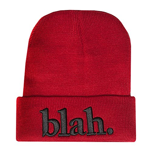 Accessoryo - Bonnet Slogan brodé 'Blah' Rouge Unisexe