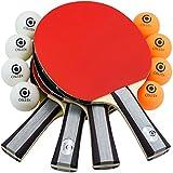 Osleek Ping Pong Paddle Set - 4 Rackets 8 Balls Professional/Recreational Table Tennis Bundle |...