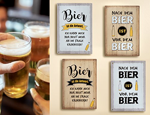 GILDE 1 x Schild Weisheit Bier Hellbraun Spruch: Bier ist die Antwort. Ich kann Mich nur Nicht mehr an die Frage erinnern (Bier ist die Antwort (Hellbraun))