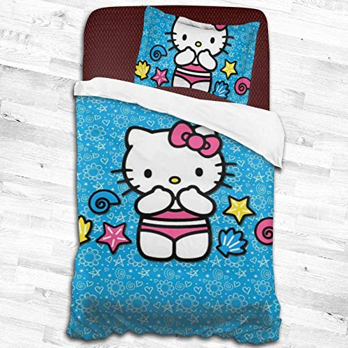 ESCFLAG Juego de cama de dos piezas de microfibra suave de Hello Kitty de dibujos animados de dos piezas, una funda de edredón + una funda de almohada (dos tamaños) 53 x 79 pulgadas