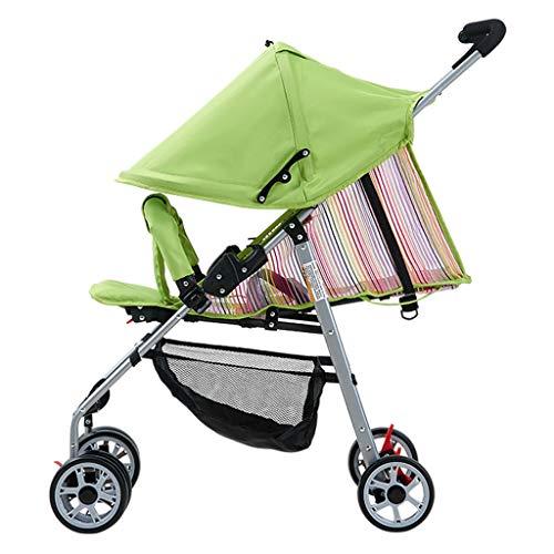 Carritos y sillas de Paseo Bebé Cochecito de Verano Malla de Verano Ultraligera El bebé Puede Sentarse Plano Amortiguador de Paraguas Paraguas Bebé Sillas de Paseo (Color : Green)