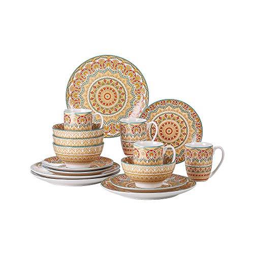 vancasso Serie Mandala Vajillas de 48 Piezas de Porcelana Multicolor Vajillas Completas Diseño Floral Mandala para 12 Personas (Amarillo)