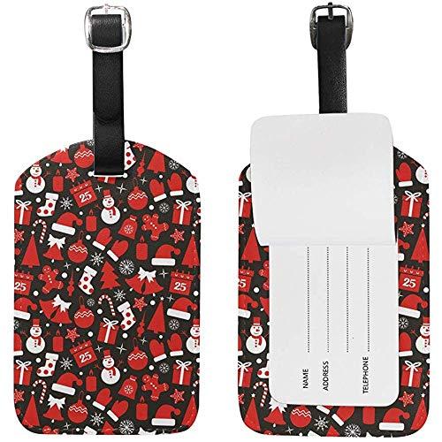 Calcetín navideño y Regalos Etiqueta de Equipaje Etiqueta de identificación de Viaje Cuero para Equipaje Maleta 2 Piezas