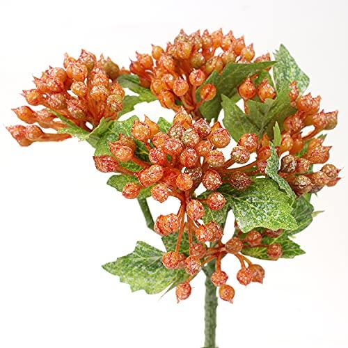 30 cm artificial viburnum Berry rama falso tallos de bayas artificiales plantas de frutas flores falsas para arreglos florales DIY centro de mesa decoración de la habitación 5 piezas