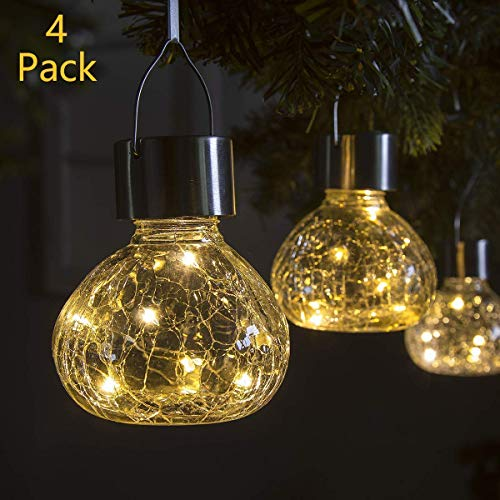 GIGALUMI Solar Hanging Lights Outdoor Christmas Yard Decoration, 4 Pcs Solar Powered LED Garden Lights for Lawn, Patio, Yard-Warm White