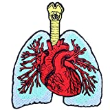 The Lung and Heart Patch Embroidered Applique Badge Iron On Sew On Emblem
