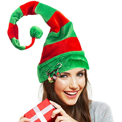 Christmas Elf Hat, Long Striped Felt Hat with Cute Brooch Pin for Kids Adults