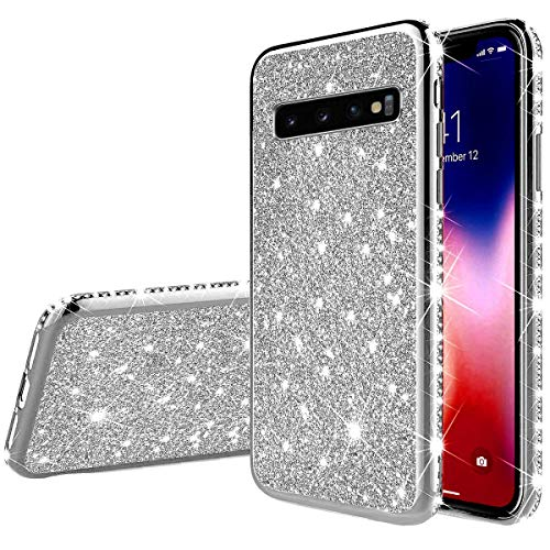 Herbests Compatible avec Samsung Galaxy S10 Coque Glitter Fille Femme Etui Bling Paillettes Strass Diamant Placage Ultra Mince Crystal Clear Transparent Silikon Gel TPU Bumper Case Cover,Argent