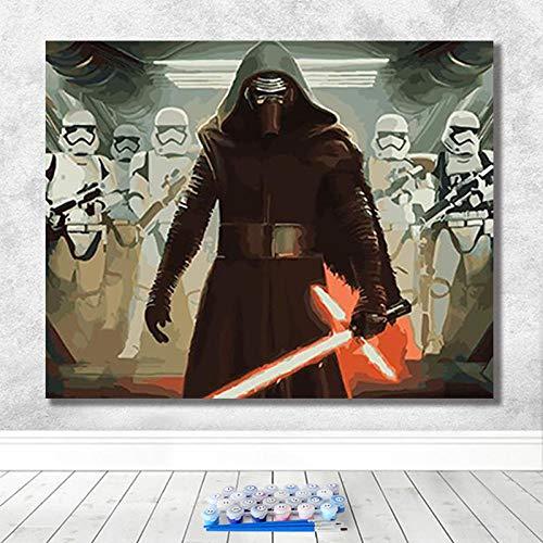 DIY Malen Nach Digitalen Bild Star Wars Spiel Charakter Dekoration Malerei Erwachsene Dekompressionsmalerei-40X50-Framed
