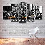 GSDFSD 5 Cuadros en Lienzo New York Taxi Cabs Times Times Plaza Impresión HD,Diseño de la Naturaleza,con Marco Creativo 200x100 cm