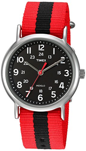 Timex Unisex TWC030800 Weekender 38mm Red/Black Stripe Nylon Slip-Thru Strap Watch