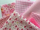 Schönes Baumwollstoff Stoffpaket mit 7 Stück in rosa  
