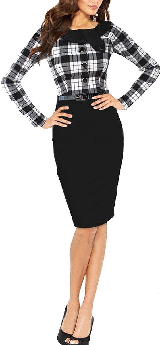 BAIMIL Women Long Sleeve Elegant Bodycon Business Work Casual Cocktail Dress