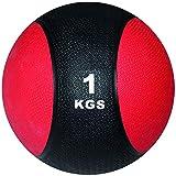 POWRX Balón Medicinal 1 kg - Ideal para Entrenamiento Funcional, Fisioterapia y Gimnasia - Relleno de Aire con Efecto Rebote + PDF Workout (Negro/Rojo)