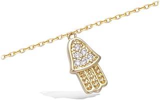 Les Trésors De Lily [K9120] - Oro catena placcata caviglia 'Main De Fatma' dorato bianco.