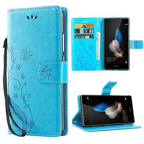 iDoer Hülle Kompatibel Mit Huawei P8 lite Schmetterling Leder Hülle Schutzhülle Blau