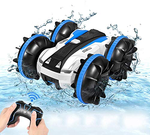 Remote Control Car, Amphibious 4WD 2.4Ghz RC Cars Stunt Car Toy Double Sided 360° Rotating RC Cars with Headlights, Kids Xmas Toy Cars Boats for Adult, Boys and Girls