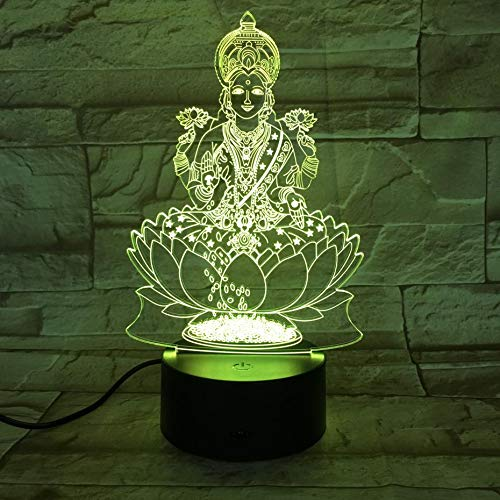 HHANN Luz Nocturna Led Religión India Luz De Noche 3D 16 Colores Estéreo Lámpara De Mesa Dormitorio Cabecera Bebé Sueño Luz Ahorro De Energía,Niños Juguetes Cumpleaños Navidad Regalo
