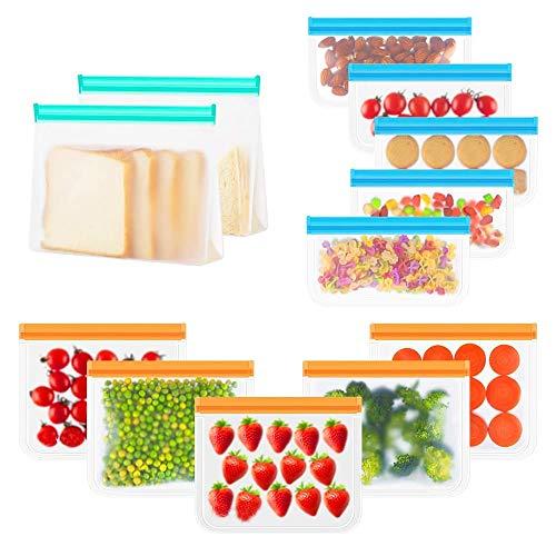 Bolsas Reutilizables para Almacenamiento de Alimentos 12 Piezas, Bolsas de Silicona Reutilizables de 3 Tamaños para Bocadillo, Sándwiches, Fruta, Verduras, Súper Grueso Sello Bolsas Congelar Sin BPA