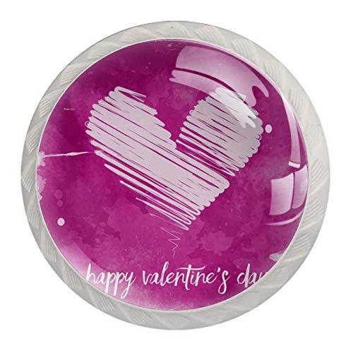 Paquete de 4 pomos de cajón de color rosa para el día de San Valentín con forma de corazón de acuarela, pomos de cristal redondos para armarios de cocina y baño
