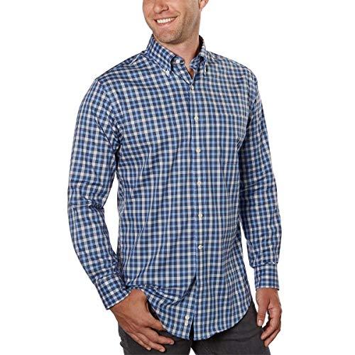 Kirkland Signature Men's Long Sleeve Cotton Non Iron Sport Shirt! (Blue, X-Large)