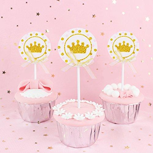 YoungRich 24PCS Sparkle Imperial Crown Toppers Cupcake Toppers Glitter Cardstock Cupcake Picks Shining Cute Unique Round Decorations with Bowknot for Birthday Baby Shower Wedding Party Decor