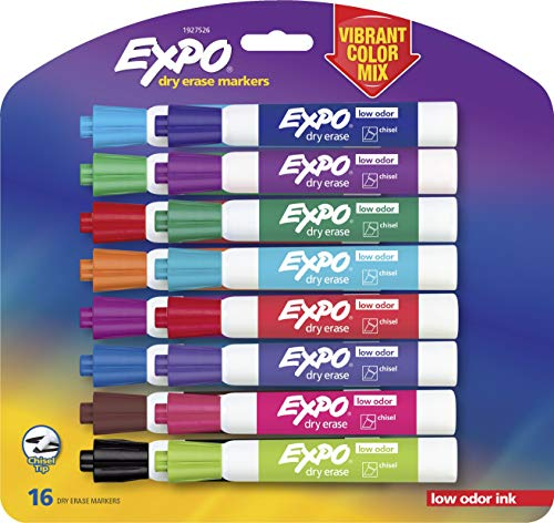 EXPO 1927526 Low-Odor Dry Erase Markers, Chisel Tip, Vibrant Colors, 16-Count
