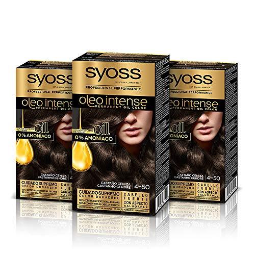 Syoss Oleo Intense - Tinte 4-50 Castaño Ceniza – Coloración permanente Sin Amoníaco – Cobertura profesional de canas – Resultados de peluquería (Pack De 3)