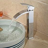 キッチン蛇口ブライトクローム滝バスルーム洗面化粧台洗面器デッキマウントミキサータップ洗面器シングルハンドル用