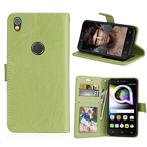 Alcatel Shine Lite Hülle, SATURCASE Glatt PU Lederhülle Magnetverschluss Flip Brieftasche Handy Tasche Schutzhülle Handyhülle Hülle mit Standfunktion für Alcatel Shine Lite 5080X (Grün)