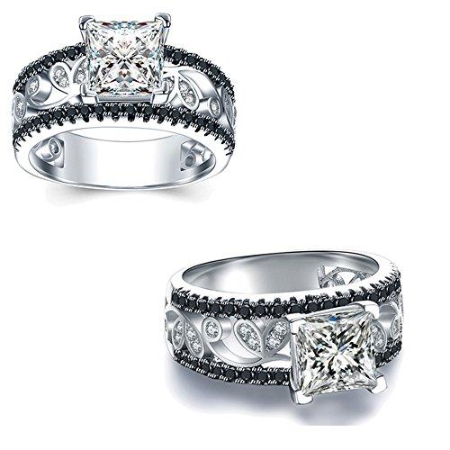Be-Jewels Anello Solitario Donna Destiny Squared - con zirconi e Diamante Sintetico Centrale da 1.00 ct - 3 Misure Disponibili - Anniversario, Fidanzamento, Natale, San Valentino (14)