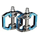 BONMIXC Road Bicycle Pedals Sealed Bearing MTB Flat Pedals Aluminum Alloy Bike Pedals Blue 9/16 inch