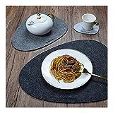 Nesirooh Platzset Filz 9er Set, rutschfest Hitzebeständig Waschbar Tischsets und Untersetzer für Dinnerpartys zu Hause - 5