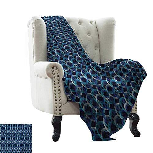 LsWOW - Manta geométrica de tamaño Queen, superpuesta enredada con patrón de Lunares en Estilo Moderno, círculos Abstractos, Tela Suave Reversible sofá de fácil Cuidado