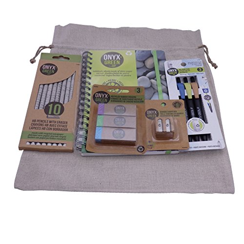 Recycled Sustainable Materials Green Eco Friendly School Supplies Kit - Pens Pencils Erasers Sharpener and Stone Paper Notebook - with a Natural Burlap Carry Bag