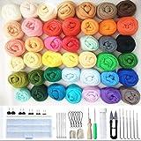 JasCherry Kit de Fieltro de Lana, 50 Colores de Lana para Fieltrar, Kit de Inicio de Fieltro de Aguja, Fieltro para Manualidades Hilado a Mano para Principiantes (3 g/Colore)