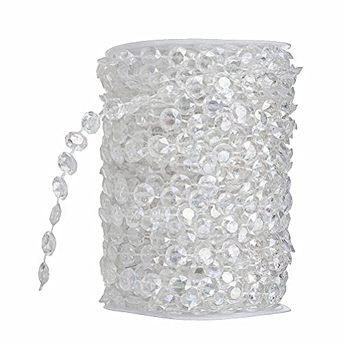 WINOMO 10M Crystals Glass Beads Iridescent Crystal Garland Diamond Acrylic Beads for DIY Wedding Party Decoration(Transparent)