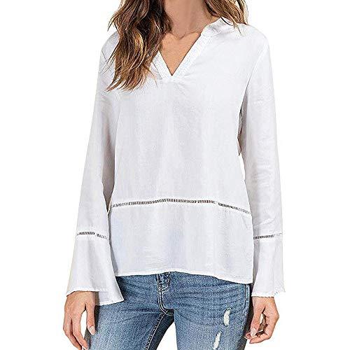 Yvelands Liquidation Femme La Mode Couleur Unie Col en V Manches Longues Manchon Haut LâChe(M,Blanc)