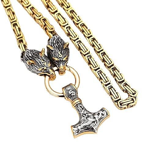Hombres Acero Inoxidable Lobo Cabeza Collar Collar Mjolnir Nórdico Thor Martillo Colgante Dorado Bizantino Hebilla Cuadrada Reyes Cadena Clásico Vikingo Nudo Celta Amuleto,4 thor hammers,40 cm Chain