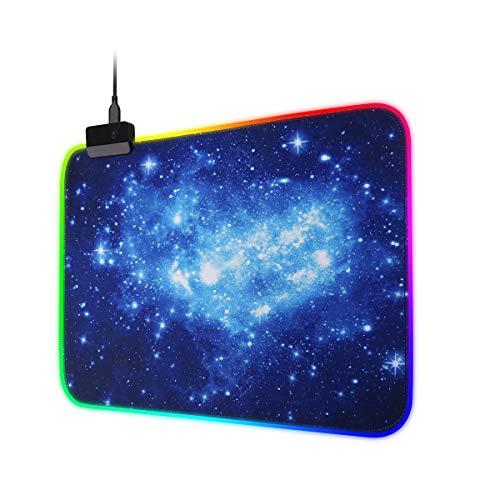 SubClap RGB Gaming Mauspad, LED, weich, erweitert, groß, 14 Beleuchtungsmodi, rutschfeste Gummi-Basis für Computertastatur, Laptop, PC und Maus