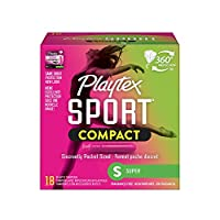 Playtex フレックスフィットテクノロジーを搭載したスポーツスーパー吸収性コンパクトタンポン、18カウント